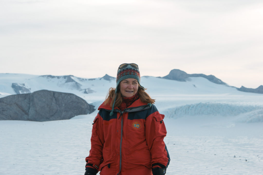 A woman (Elisabeth Isaksson) stood in polar landscape